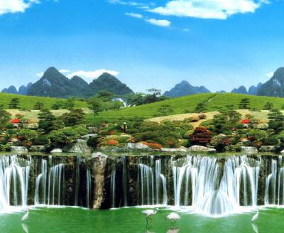 Несколько больших водопадов